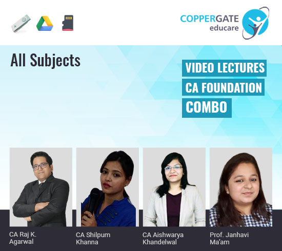 CA Foundation All Subjects Combo by CA Raj K Agrawal,CA Shilpum Khanna,CA Aishwarya Khandelwal & Janhavi Ma'am