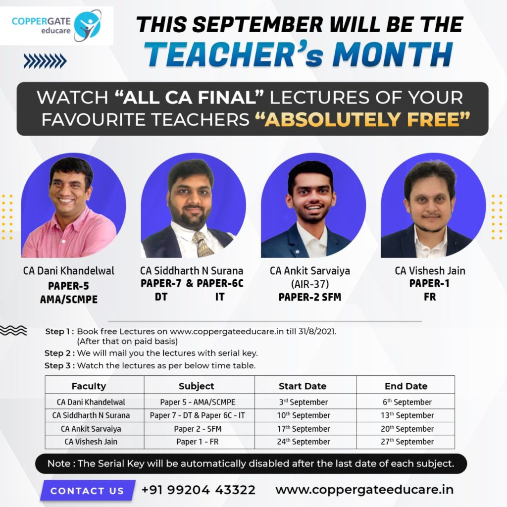 Teacher's Day Month Offer Watch All CA – Final Full Course Lectures of your Favorite Teachers Absolutely Free